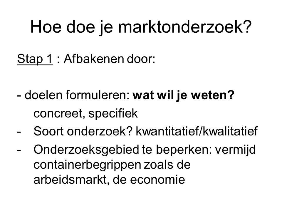 Hoe doe je marktonderzoek? Stap 1 : Afbakenen door: - doelen formuleren: wat wil je weten? concreet, specifiek -Soort onderzoek? kwantitatief/kwalitat