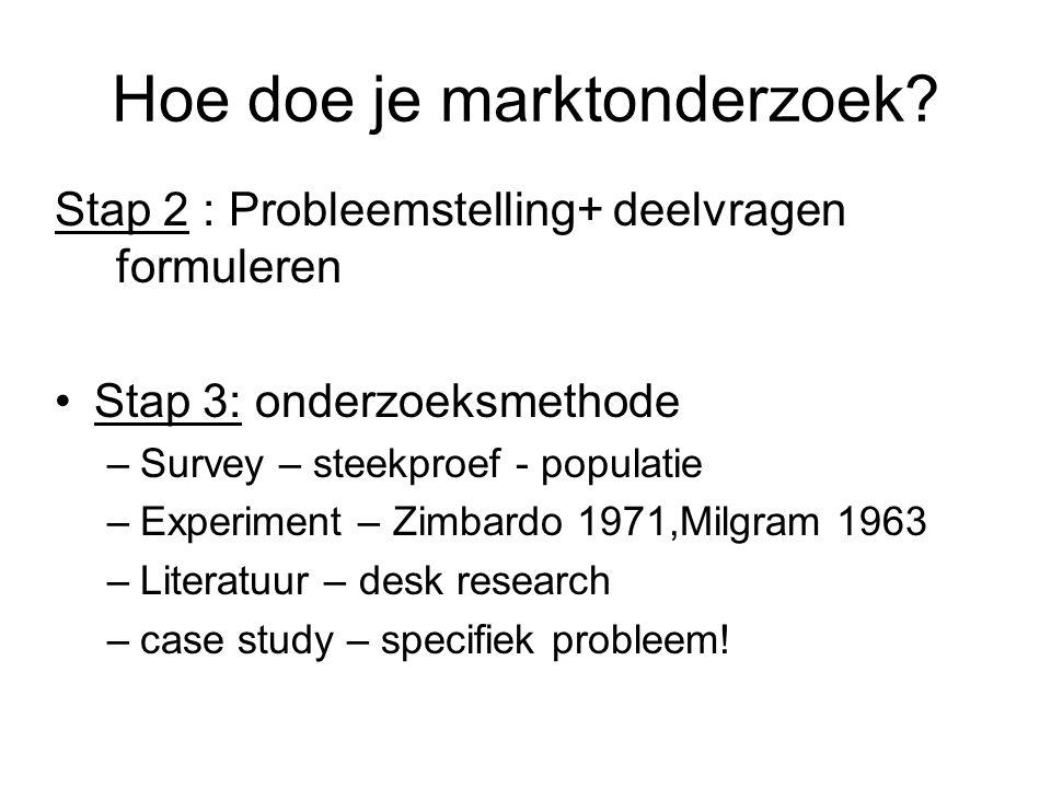 Hoe doe je marktonderzoek? Stap 2 : Probleemstelling+ deelvragen formuleren Stap 3: onderzoeksmethode –Survey – steekproef - populatie –Experiment – Z