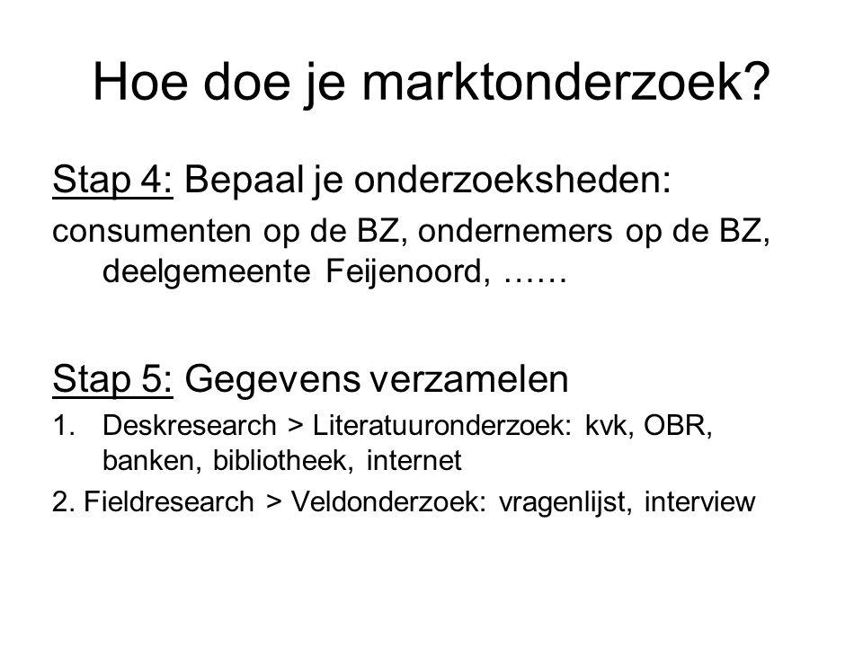 Hoe doe je marktonderzoek? Stap 4: Bepaal je onderzoeksheden: consumenten op de BZ, ondernemers op de BZ, deelgemeente Feijenoord, …… Stap 5: Gegevens