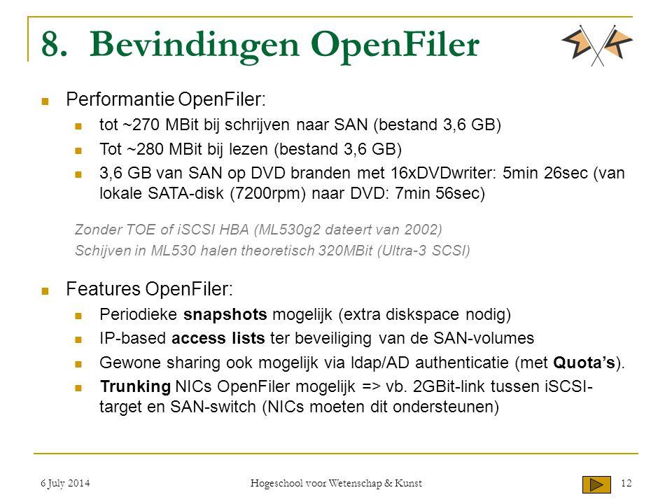 6 July 2014 Hogeschool voor Wetenschap & Kunst 12 8. Bevindingen OpenFiler Performantie OpenFiler: tot ~270 MBit bij schrijven naar SAN (bestand 3,6 G