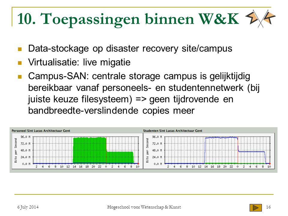 6 July 2014 Hogeschool voor Wetenschap & Kunst 16 10. Toepassingen binnen W&K Data-stockage op disaster recovery site/campus Virtualisatie: live migat