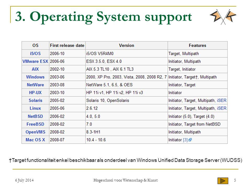 6 July 2014 Hogeschool voor Wetenschap & Kunst 5 3. Operating System support †Target functionaliteit enkel beschikbaar als onderdeel van Windows Unifi