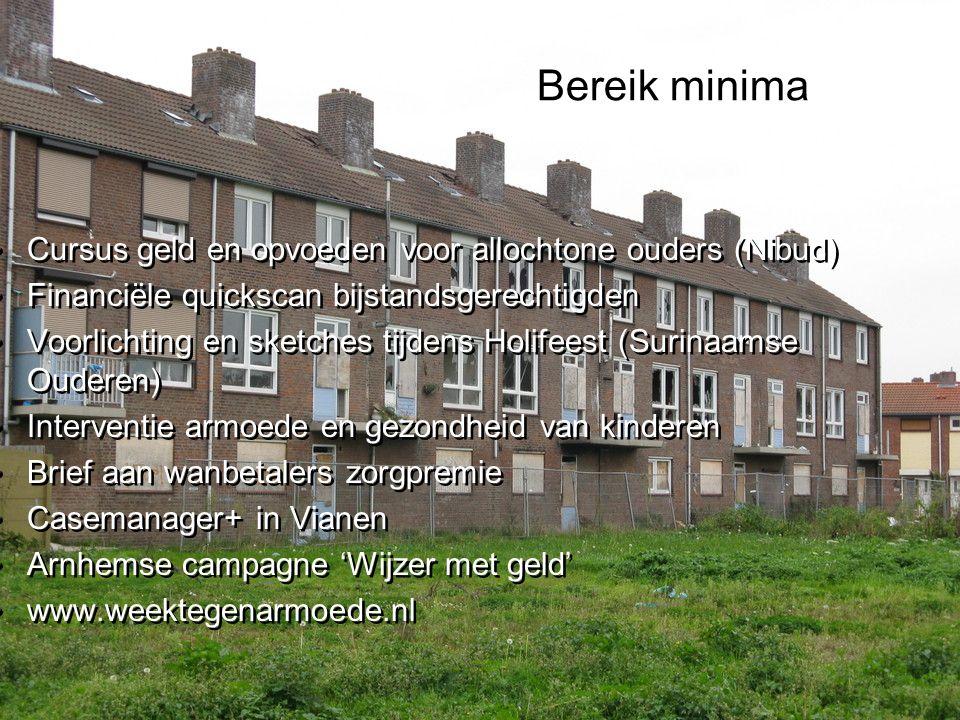 Bereik minima Cursus geld en opvoeden voor allochtone ouders (Nibud) Financiële quickscan bijstandsgerechtigden Voorlichting en sketches tijdens Holifeest (Surinaamse Ouderen) Interventie armoede en gezondheid van kinderen Brief aan wanbetalers zorgpremie Casemanager+ in Vianen Arnhemse campagne 'Wijzer met geld' www.weektegenarmoede.nl Cursus geld en opvoeden voor allochtone ouders (Nibud) Financiële quickscan bijstandsgerechtigden Voorlichting en sketches tijdens Holifeest (Surinaamse Ouderen) Interventie armoede en gezondheid van kinderen Brief aan wanbetalers zorgpremie Casemanager+ in Vianen Arnhemse campagne 'Wijzer met geld' www.weektegenarmoede.nl