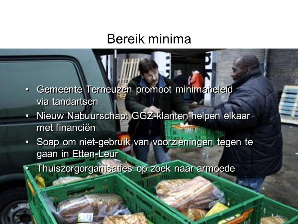 Bereik minima Gemeente Terneuzen promoot minimabeleid via tandartsen Nieuw Nabuurschap: GGZ-klanten helpen elkaar met financiën Soap om niet-gebruik v