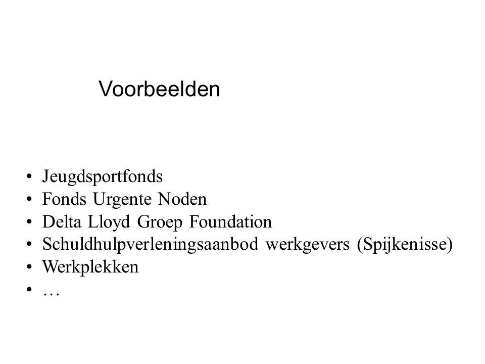 Jeugdsportfonds Fonds Urgente Noden Delta Lloyd Groep Foundation Schuldhulpverleningsaanbod werkgevers (Spijkenisse) Werkplekken … Voorbeelden