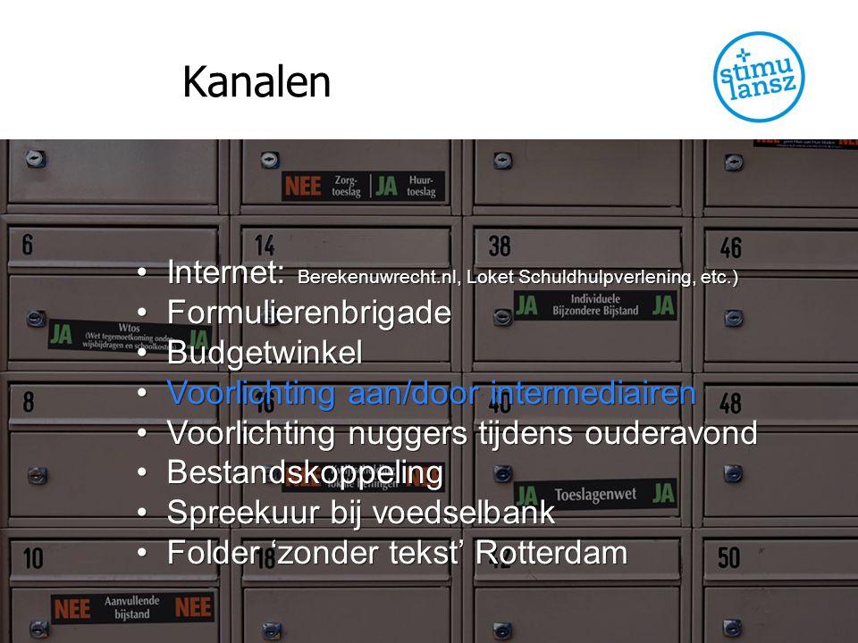 Kanalen Internet: Berekenuwrecht.nl, Loket Schuldhulpverlening, etc.) Formulierenbrigade Budgetwinkel Voorlichting aan/door intermediairen Voorlichtin