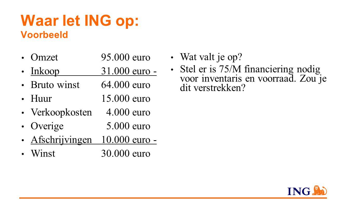 Waar let ING op: Voorbeeld Omzet95.000 euro Inkoop31.000 euro - Bruto winst64.000 euro Huur15.000 euro Verkoopkosten 4.000 euro Overige 5.000 euro Afs