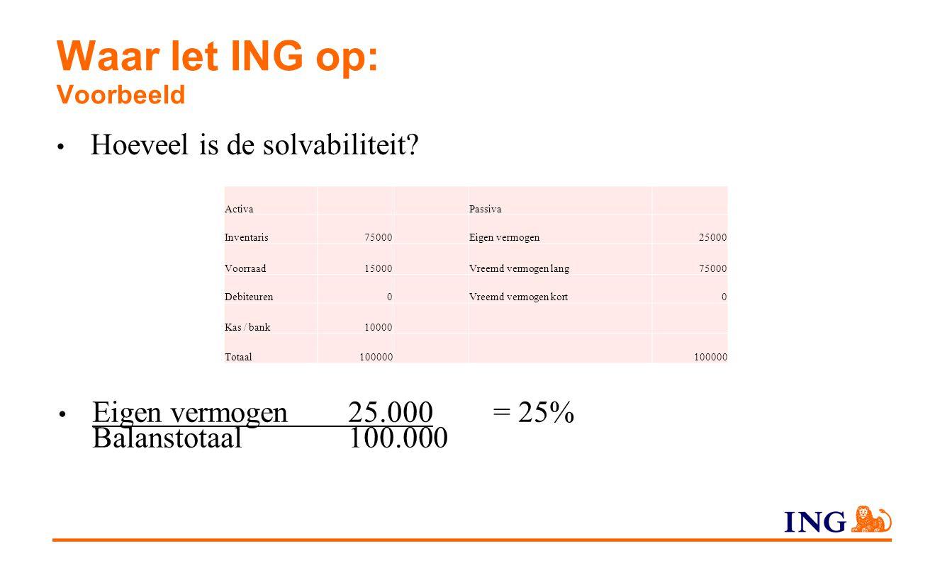 Waar let ING op: Voorbeeld Hoeveel is de solvabiliteit? Activa Passiva Inventaris75000Eigen vermogen25000 Voorraad15000Vreemd vermogen lang75000 Debit