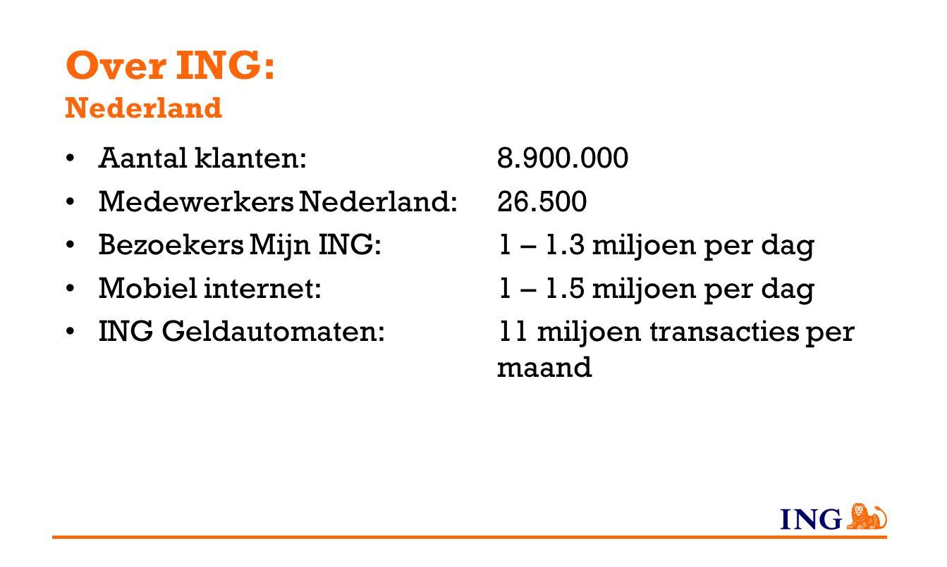 Over ING: Nederland Aantal klanten:8.900.000 Medewerkers Nederland: 26.500 Bezoekers Mijn ING:1 – 1.3 miljoen per dag Mobiel internet:1 – 1.5 miljoen