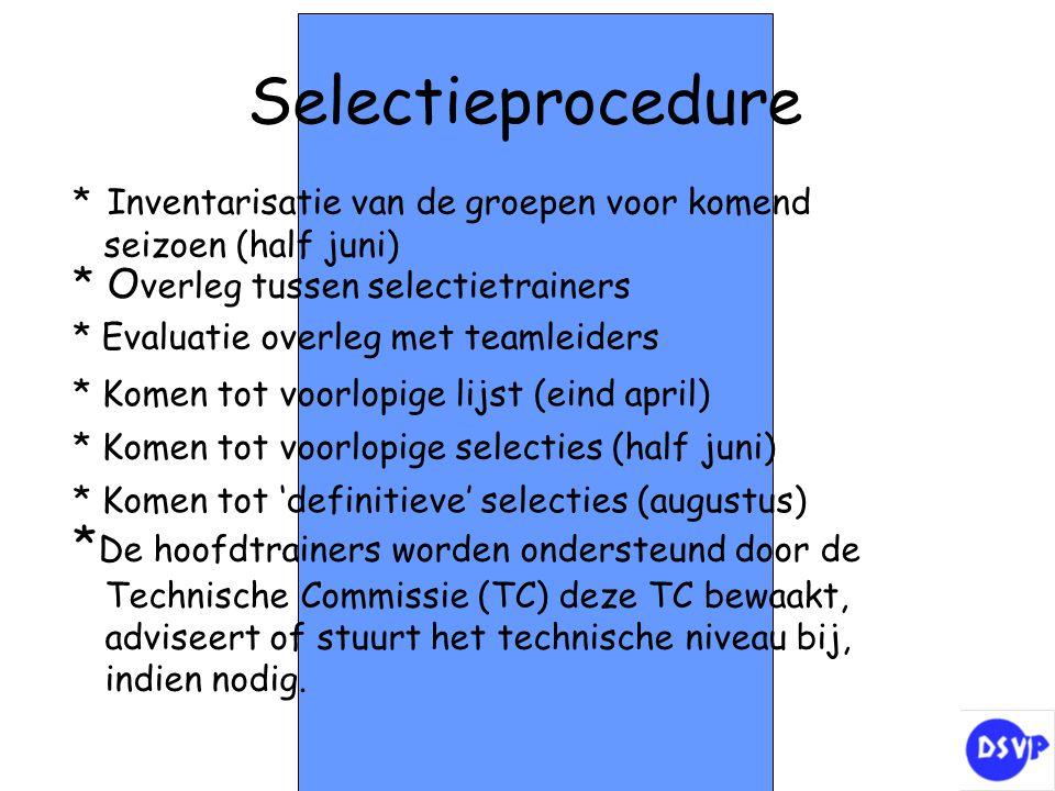 Selectieprocedure * Inventarisatie van de groepen voor komend seizoen (half juni) * O verleg tussen selectietrainers * Evaluatie overleg met teamleide