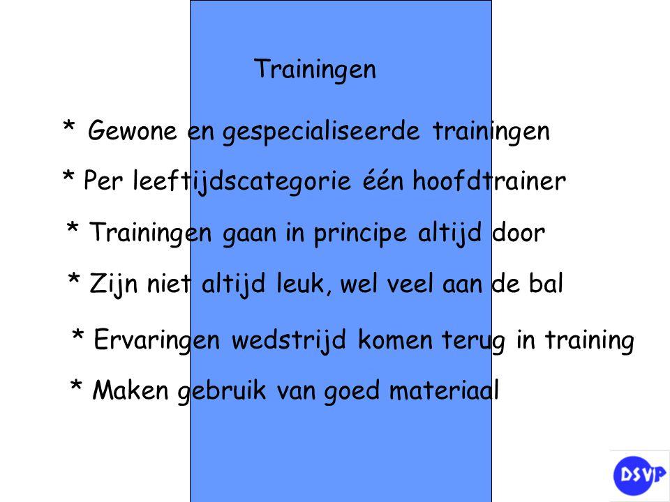Trainingen * Gewone en gespecialiseerde trainingen * Per leeftijdscategorie één hoofdtrainer * Trainingen gaan in principe altijd door * Zijn niet alt