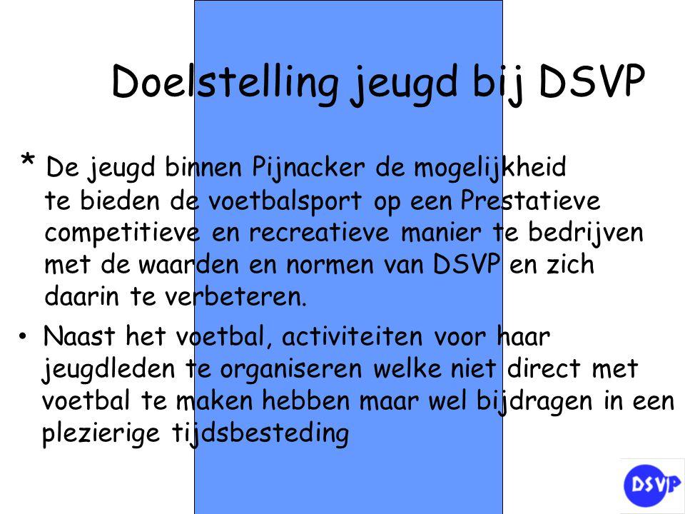 Doelstelling jeugd bij DSVP * De jeugd binnen Pijnacker de mogelijkheid te bieden de voetbalsport op een Prestatieve competitieve en recreatieve manie