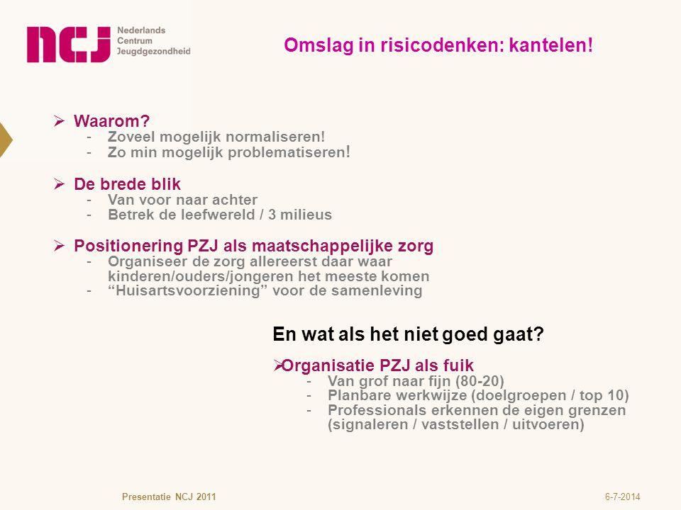 6-7-2014Presentatie NCJ 2011 Omslag in risicodenken: kantelen!  Waarom? -Zoveel mogelijk normaliseren! -Zo min mogelijk problematiseren !  De brede