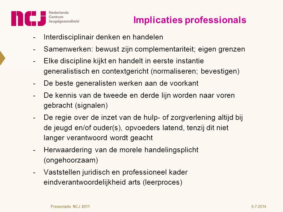 6-7-2014 -Interdisciplinair denken en handelen  Samenwerken: bewust zijn complementariteit; eigen grenzen  Elke discipline kijkt en handelt in eerst