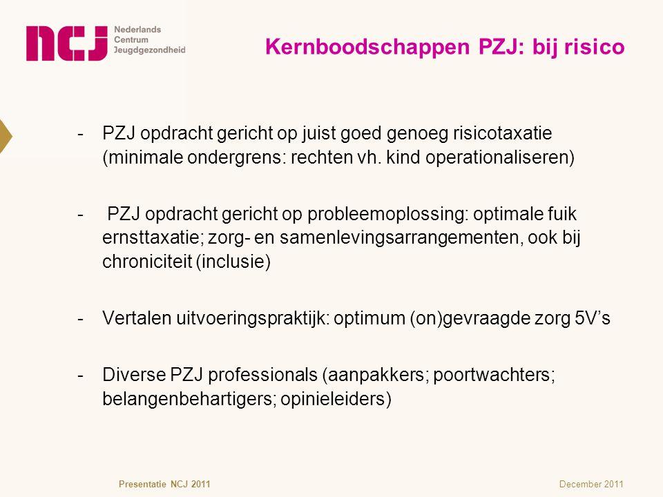 December 2011 -PZJ opdracht gericht op juist goed genoeg risicotaxatie (minimale ondergrens: rechten vh. kind operationaliseren)  PZJ opdracht gerich