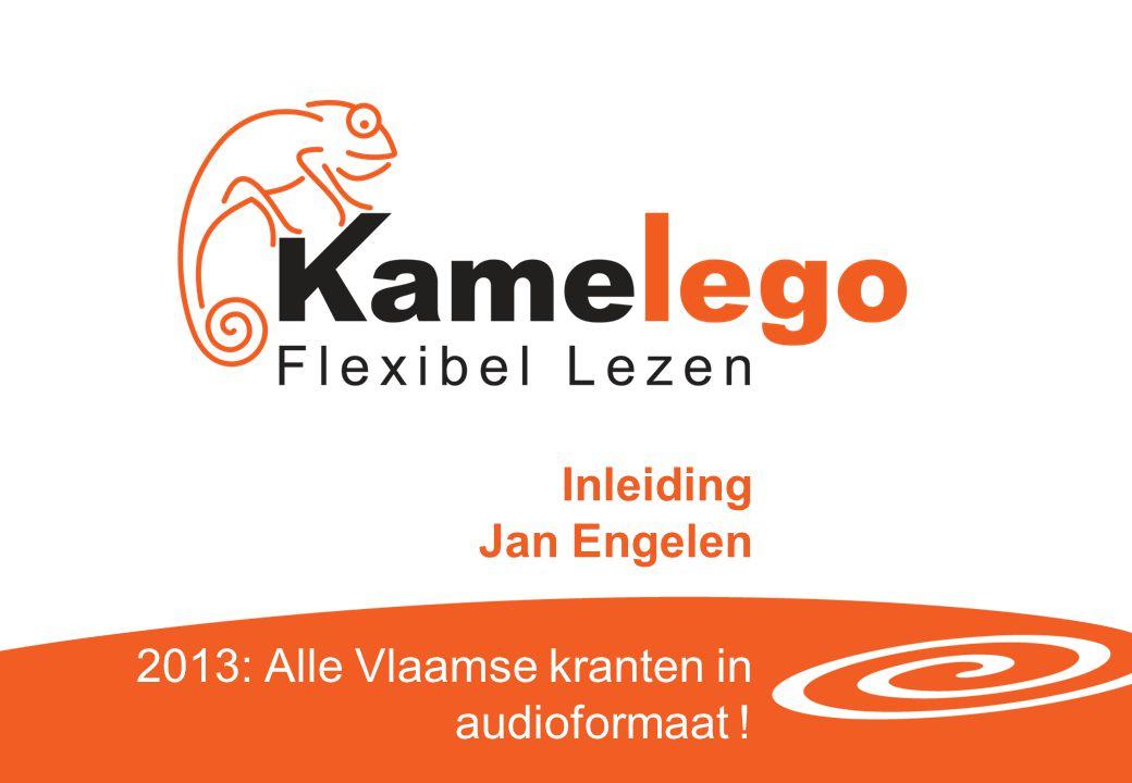 Van Braillekrant naar Kamelego Kamelego startte in 1991 onder de naam De Braillekrant met als hoofddoel het toegankelijk maken van de dagelijkse kranten via een braille-uitgave Enkele jaren terug werd de naam aangepast om aan te geven dat we verschillende soorten toegankelijke versies van die informatie willen aanbieden Vandaar ook de naamsverandering: Kamelego, een combinatie van flexibiliteit (kameleon) en leesvormen (lego, ik lees) Persconferentie 10 december 2013 | 2
