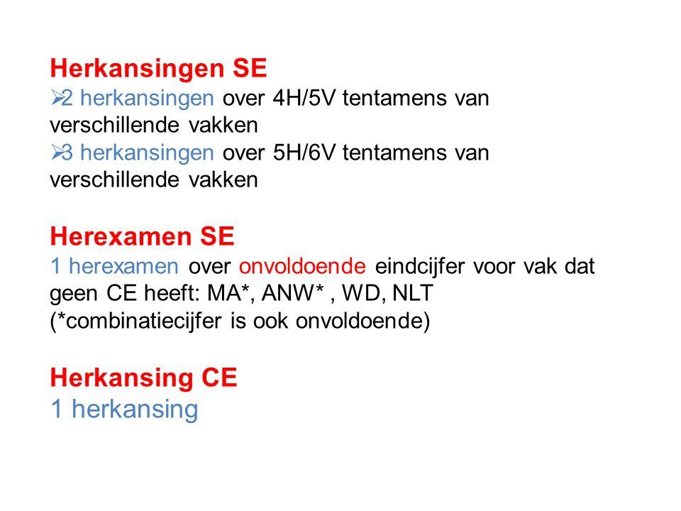 Herkansingen SE  2 herkansingen over 4H/5V tentamens van verschillende vakken  3 herkansingen over 5H/6V tentamens van verschillende vakken Herexame