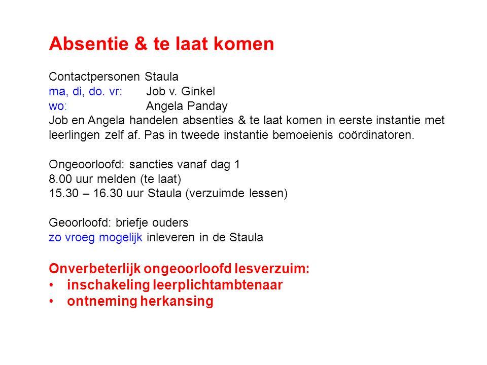 Absentie & te laat komen Contactpersonen Staula ma, di, do. vr: Job v. Ginkel wo:Angela Panday Job en Angela handelen absenties & te laat komen in eer