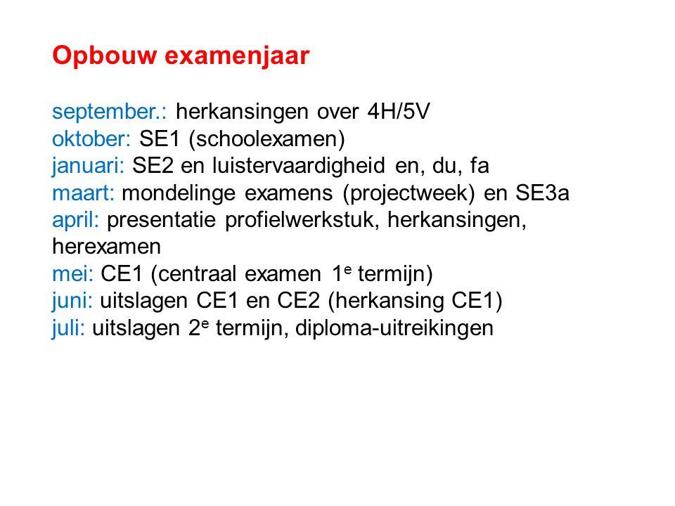 Opbouw examenjaar september.: herkansingen over 4H/5V oktober: SE1 (schoolexamen) januari: SE2 en luistervaardigheid en, du, fa maart: mondelinge exam
