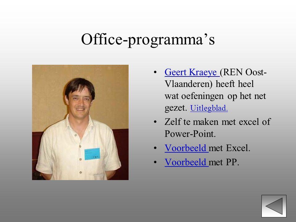 Office-programma's Geert Kraeye (REN Oost- Vlaanderen) heeft heel wat oefeningen op het net gezet. Uitlegblad.Geert Kraeye Uitlegblad. Zelf te maken m