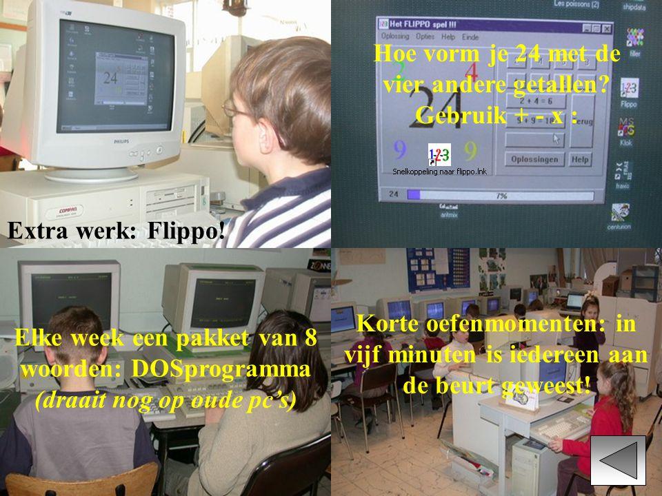 Extra werk: Flippo! Hoe vorm je 24 met de vier andere getallen? Gebruik + - x : Korte oefenmomenten: in vijf minuten is iedereen aan de beurt geweest!