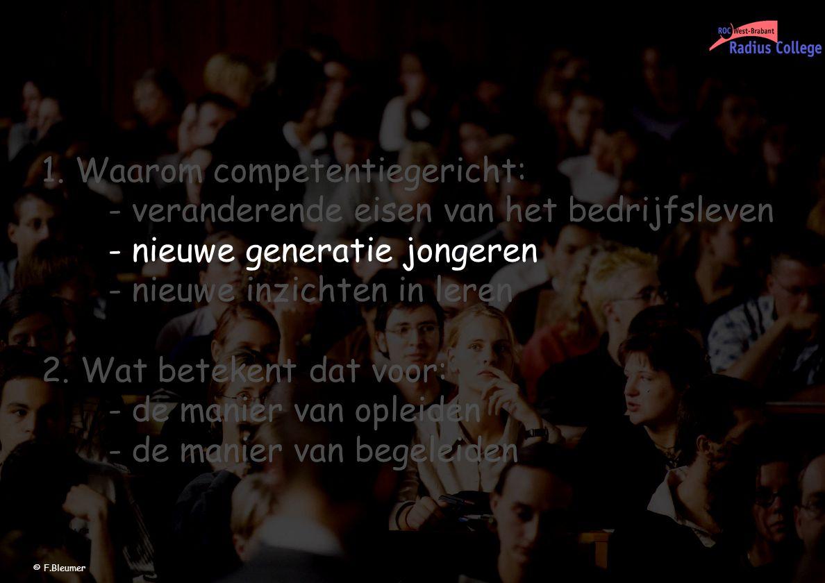 1.Waarom competentiegericht: - veranderende eisen van het bedrijfsleven - nieuwe generatie jongeren - nieuwe inzichten in leren 2. Wat betekent dat vo