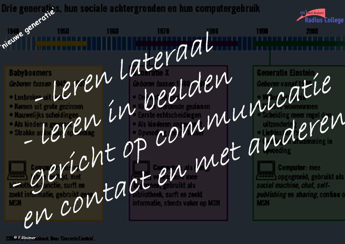 - leren lateraal - leren in beelden - gericht op communicatie en contact en met anderen 'nieuwe generatie' © F.Bleumer