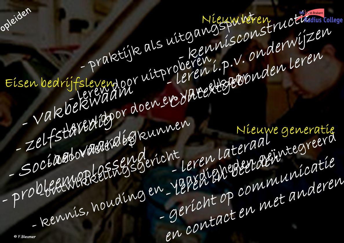 - Vakbekwaam - zelfstandig - Sociaal vaardig - probleemoplossend - leren lateraal - leren in beelden - gericht op communicatie en contact en met anderen - kennisconstructie - leren i.p.v.