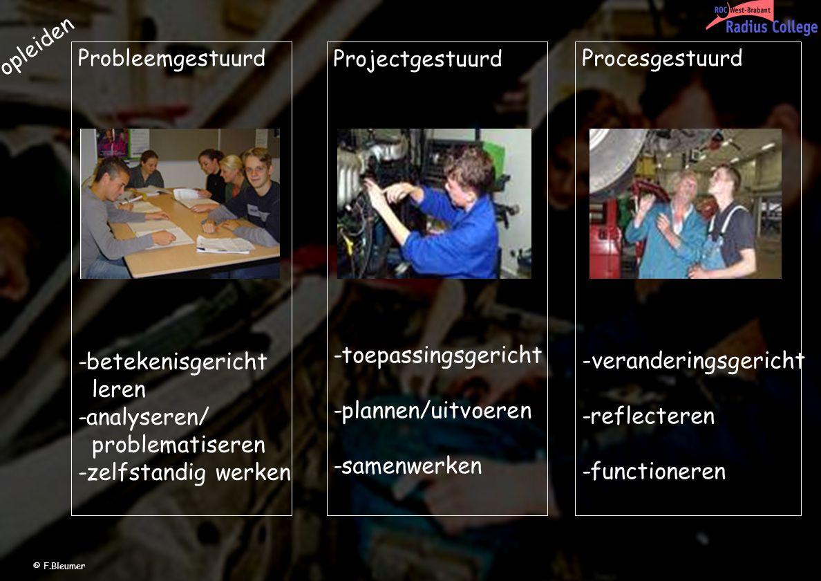 Projectgestuurd -toepassingsgericht -plannen/uitvoeren -samenwerken Probleemgestuurd -betekenisgericht leren -analyseren/ problematiseren -zelfstandig