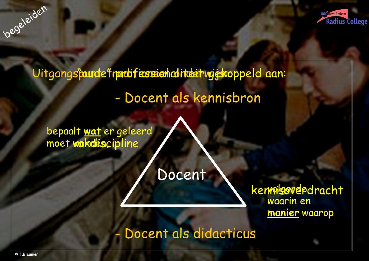 Uitgangspunt traditioneel onderwijs: - Docent als kennisbron - Docent als didacticus Docent volgorde waarin en manier waarop bepaalt wat er geleerd moet worden, oude professionaliteit gekoppeld aan: vakdiscipline kennisoverdracht begeleiden © F.Bleumer