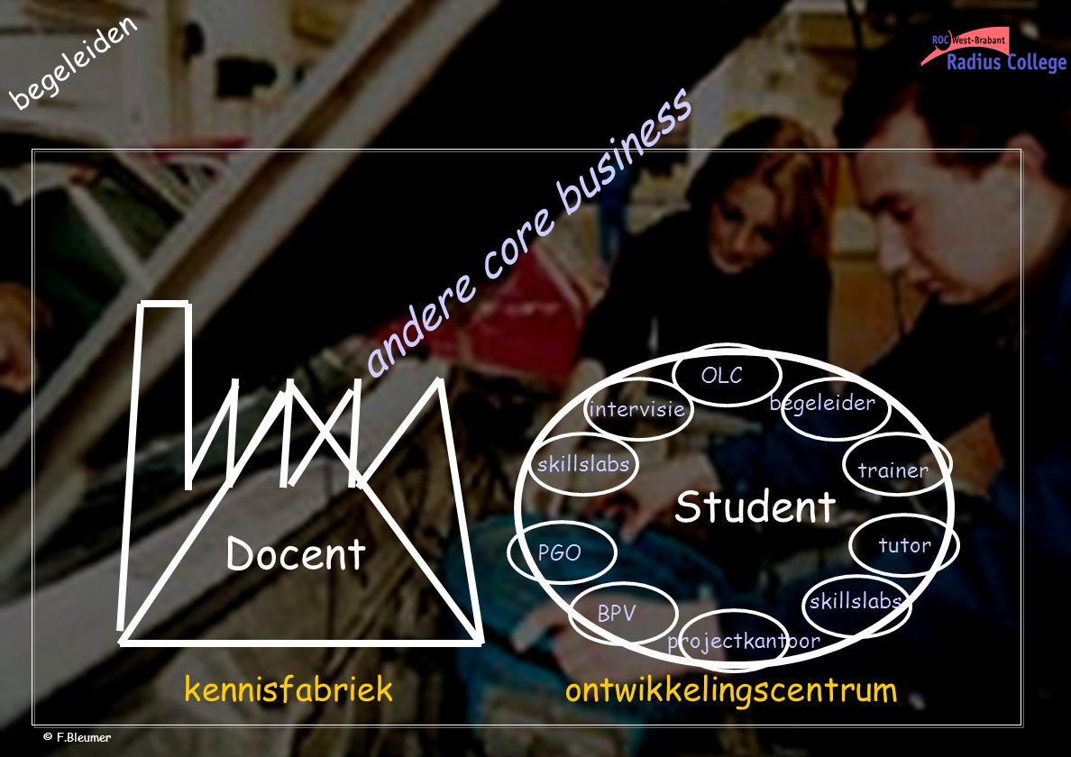 begeleiden Docent Student skillslabs intervisie PGO projectkantoor BPV OLC trainer skillslabs begeleider tutor kennisfabriekontwikkelingscentrum andere core business © F.Bleumer