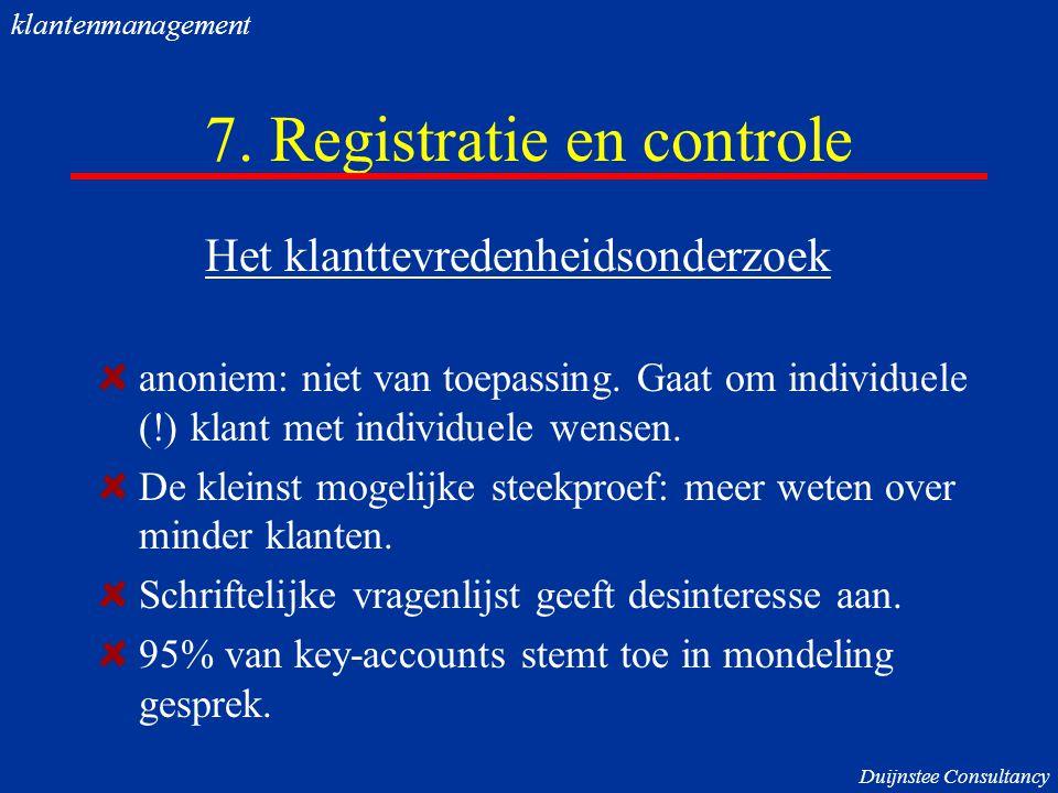 7. Registratie en controle Het klanttevredenheidsonderzoek anoniem: niet van toepassing. Gaat om individuele (!) klant met individuele wensen. De klei