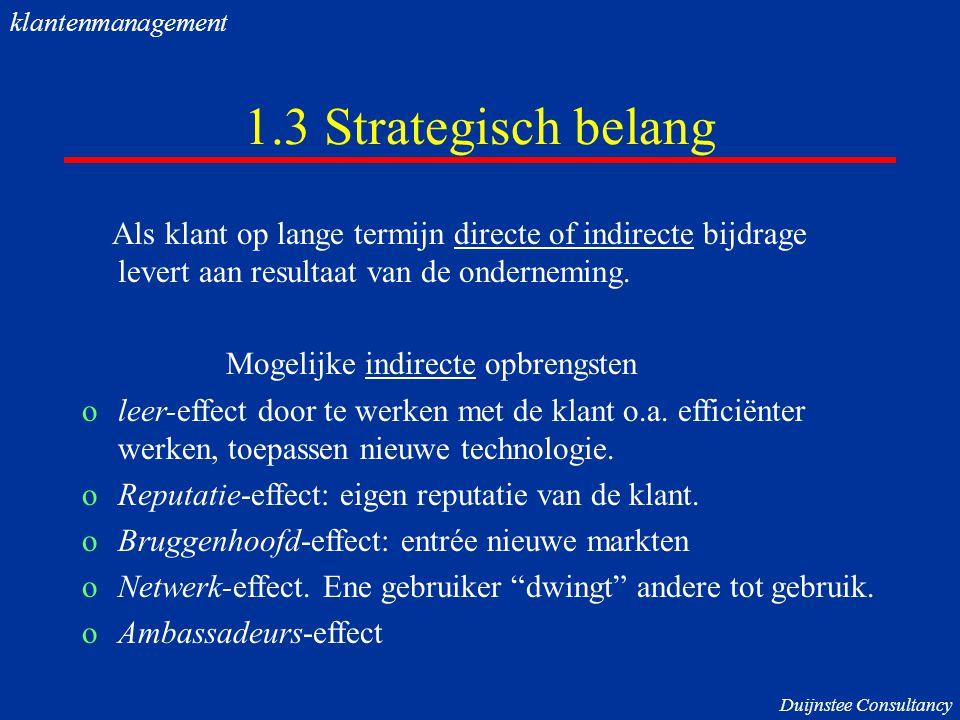 1.3 Strategisch belang Als klant op lange termijn directe of indirecte bijdrage levert aan resultaat van de onderneming. Mogelijke indirecte opbrengst