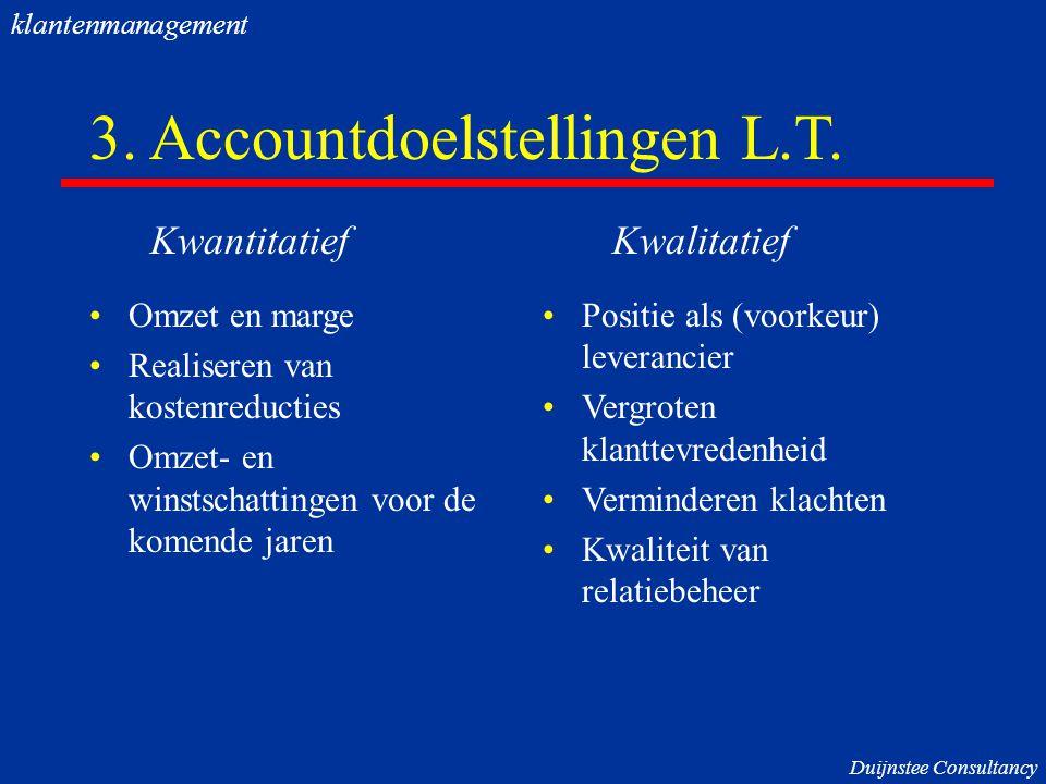 3. Accountdoelstellingen L.T. Omzet en marge Realiseren van kostenreducties Omzet- en winstschattingen voor de komende jaren Positie als (voorkeur) le