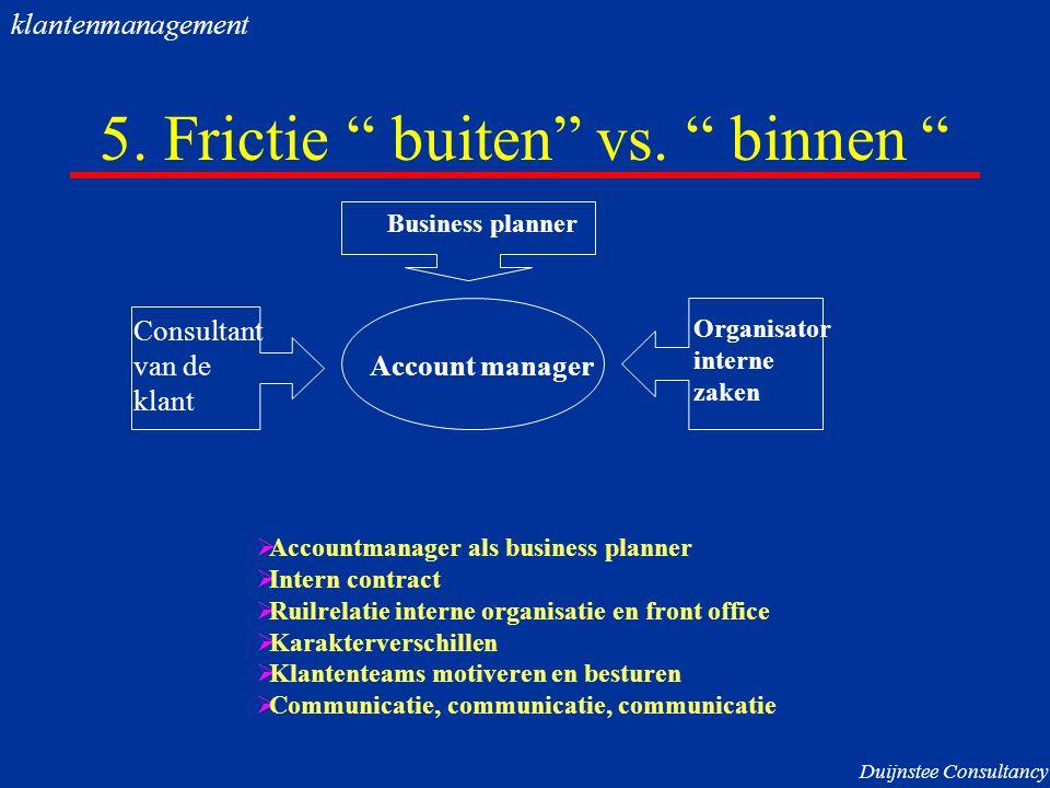 """5. Frictie """" buiten"""" vs. """" binnen """" Account manager Consultant van de klant Organisator interne zaken  Accountmanager als business planner  Intern c"""
