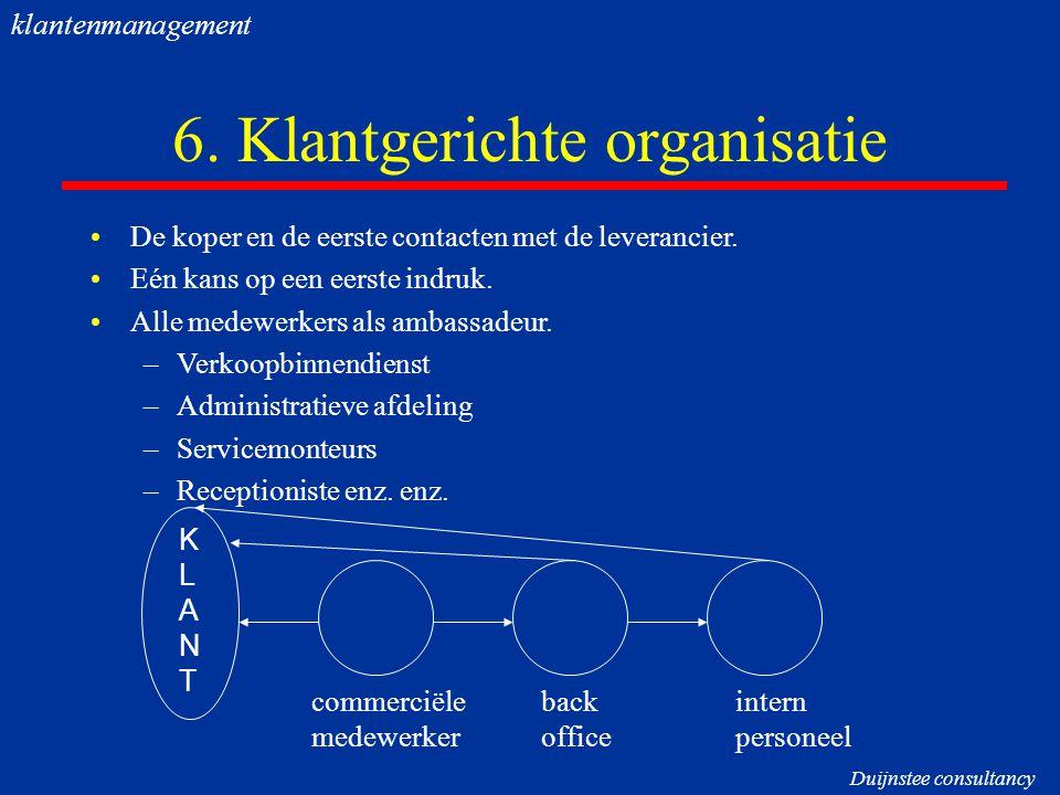 6. Klantgerichte organisatie De koper en de eerste contacten met de leverancier. Eén kans op een eerste indruk. Alle medewerkers als ambassadeur. –Ver