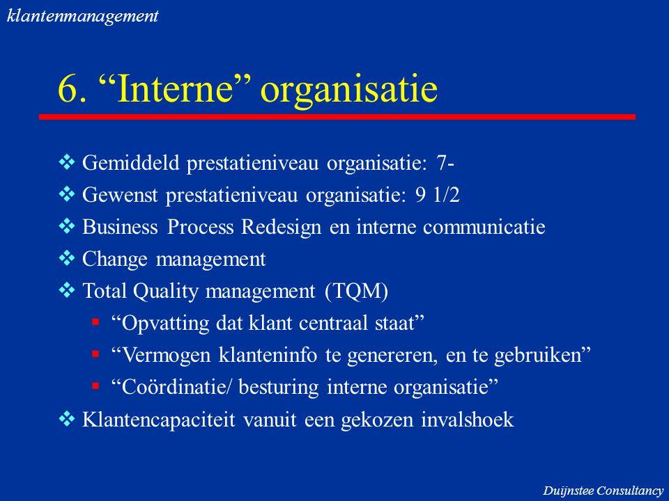 """6. """"Interne"""" organisatie  Gemiddeld prestatieniveau organisatie: 7-  Gewenst prestatieniveau organisatie: 9 1/2  Business Process Redesign en inter"""