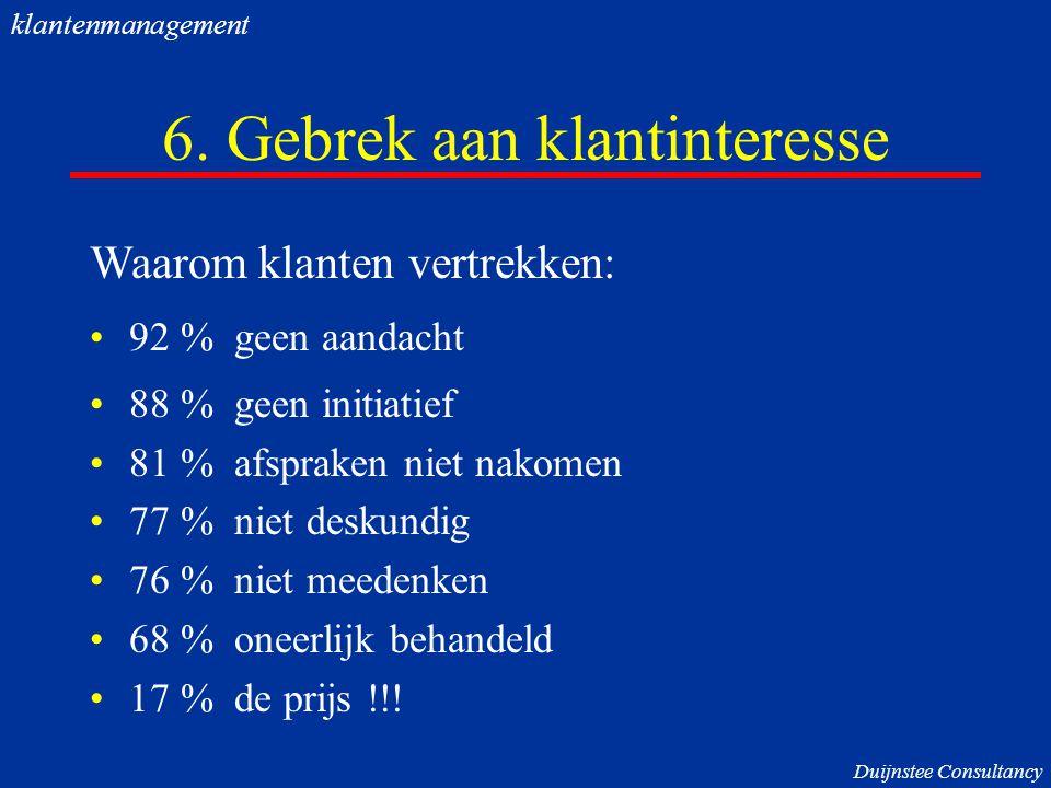 6. Gebrek aan klantinteresse Waarom klanten vertrekken: 92 % geen aandacht 88 % geen initiatief 81 % afspraken niet nakomen 77 % niet deskundig 76 % n
