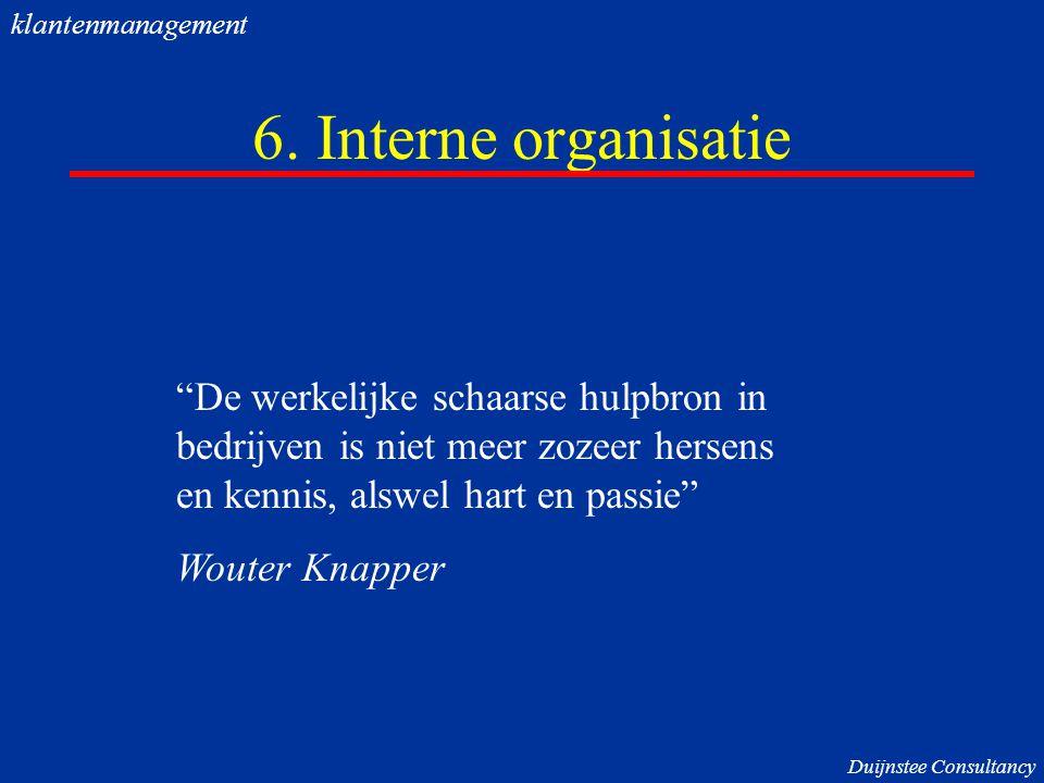 """6. Interne organisatie """"De werkelijke schaarse hulpbron in bedrijven is niet meer zozeer hersens en kennis, alswel hart en passie"""" Wouter Knapper klan"""