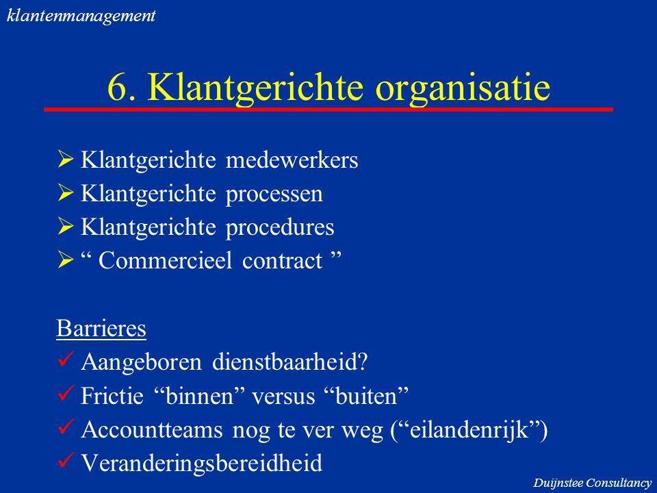 """6. Klantgerichte organisatie  Klantgerichte medewerkers  Klantgerichte processen  Klantgerichte procedures  """" Commercieel contract """" Barrieres Aan"""