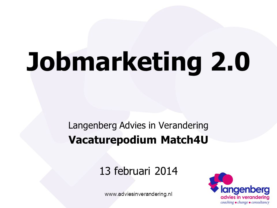 www.adviesinverandering.nl Jobmarketing 2.0 Langenberg Advies in Verandering Vacaturepodium Match4U 13 februari 2014