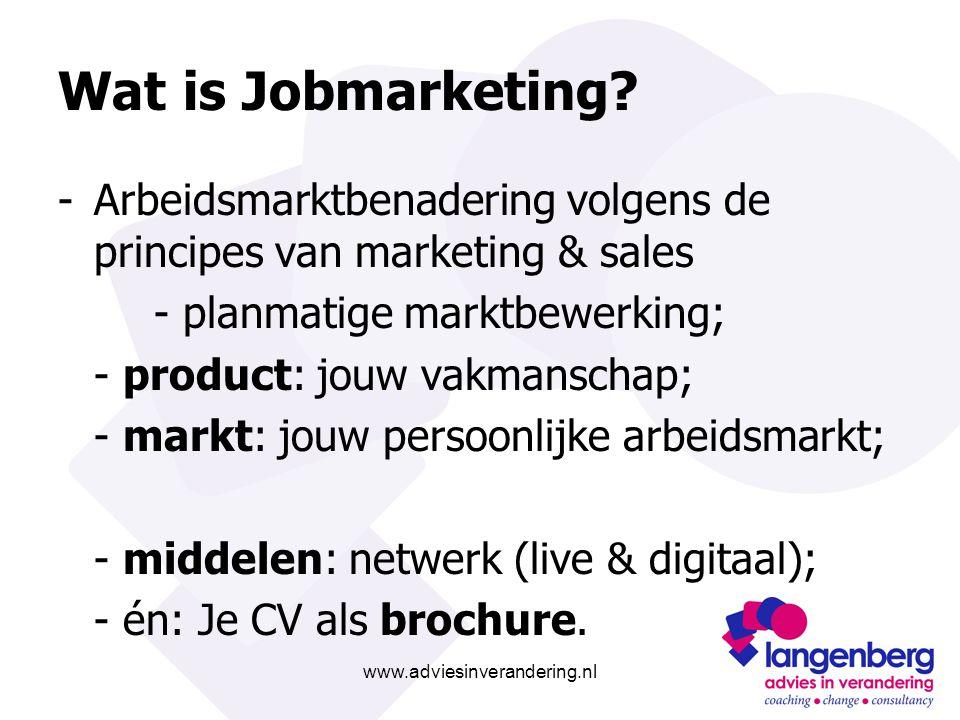 www.adviesinverandering.nl Wat is Jobmarketing? -Arbeidsmarktbenadering volgens de principes van marketing & sales - planmatige marktbewerking; - prod