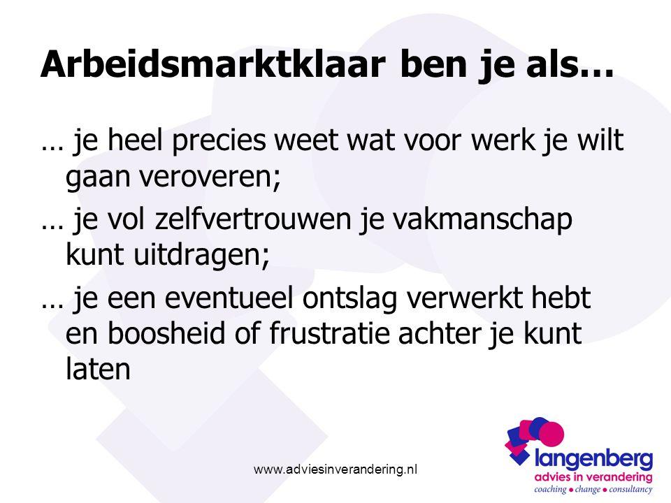www.adviesinverandering.nl Arbeidsmarktklaar ben je als… … je heel precies weet wat voor werk je wilt gaan veroveren; … je vol zelfvertrouwen je vakma