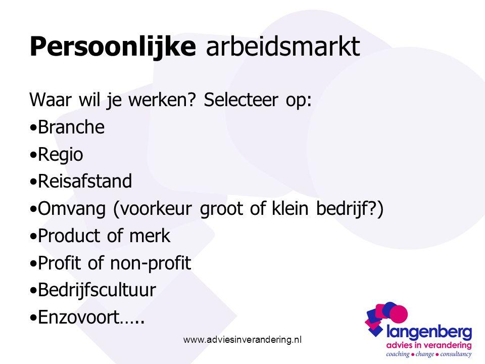 www.adviesinverandering.nl Persoonlijke arbeidsmarkt Waar wil je werken? Selecteer op: Branche Regio Reisafstand Omvang (voorkeur groot of klein bedri