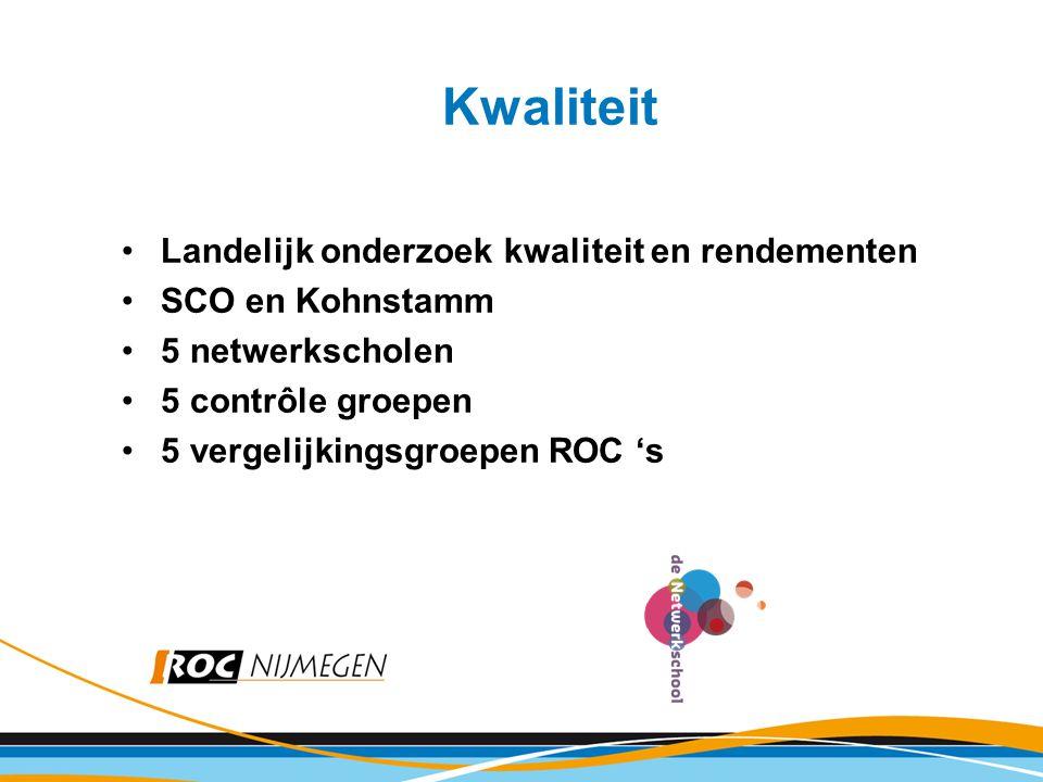 Kwaliteit Landelijk onderzoek kwaliteit en rendementen SCO en Kohnstamm 5 netwerkscholen 5 contrôle groepen 5 vergelijkingsgroepen ROC 's