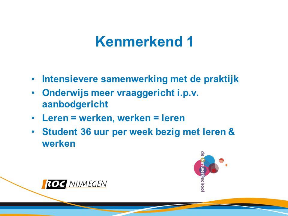 Kenmerkend 1 Intensievere samenwerking met de praktijk Onderwijs meer vraaggericht i.p.v. aanbodgericht Leren = werken, werken = leren Student 36 uur