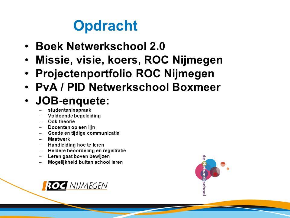 Boek Netwerkschool 2.0 Missie, visie, koers, ROC Nijmegen Projectenportfolio ROC Nijmegen PvA / PID Netwerkschool Boxmeer JOB-enquete: –studenteninspr