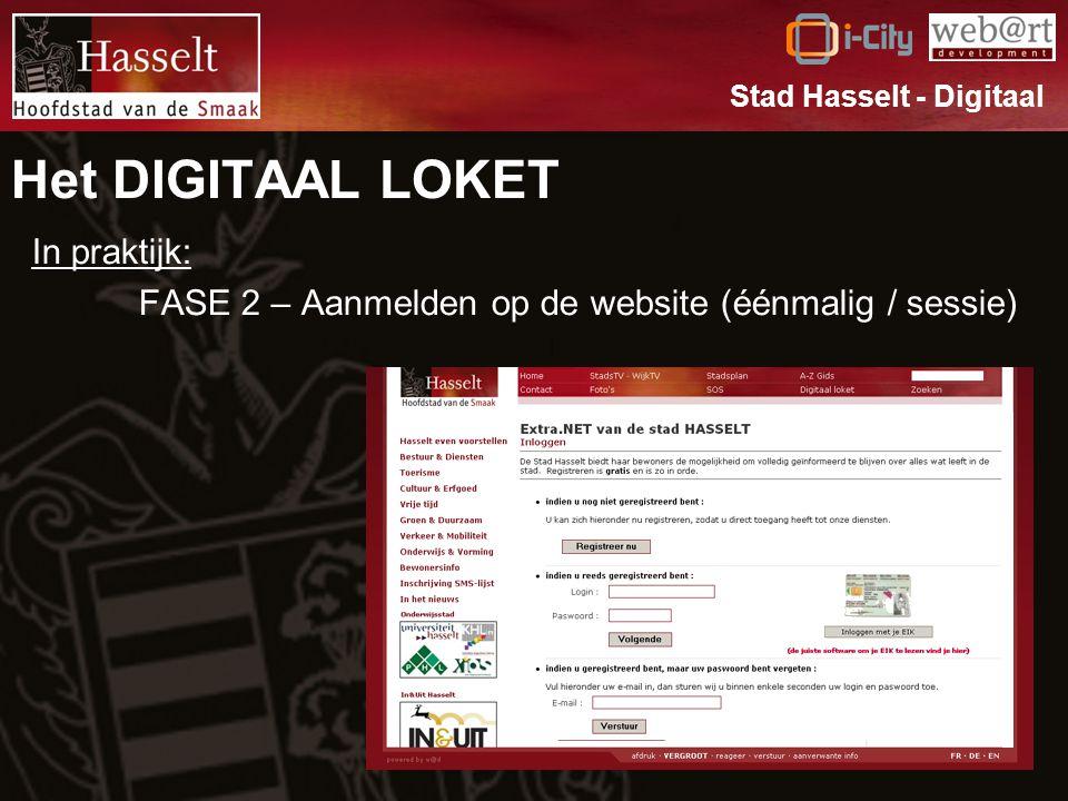 Het DIGITAAL LOKET In praktijk: FASE 2 – Aanmelden op de website (éénmalig / sessie) Stad Hasselt - Digitaal