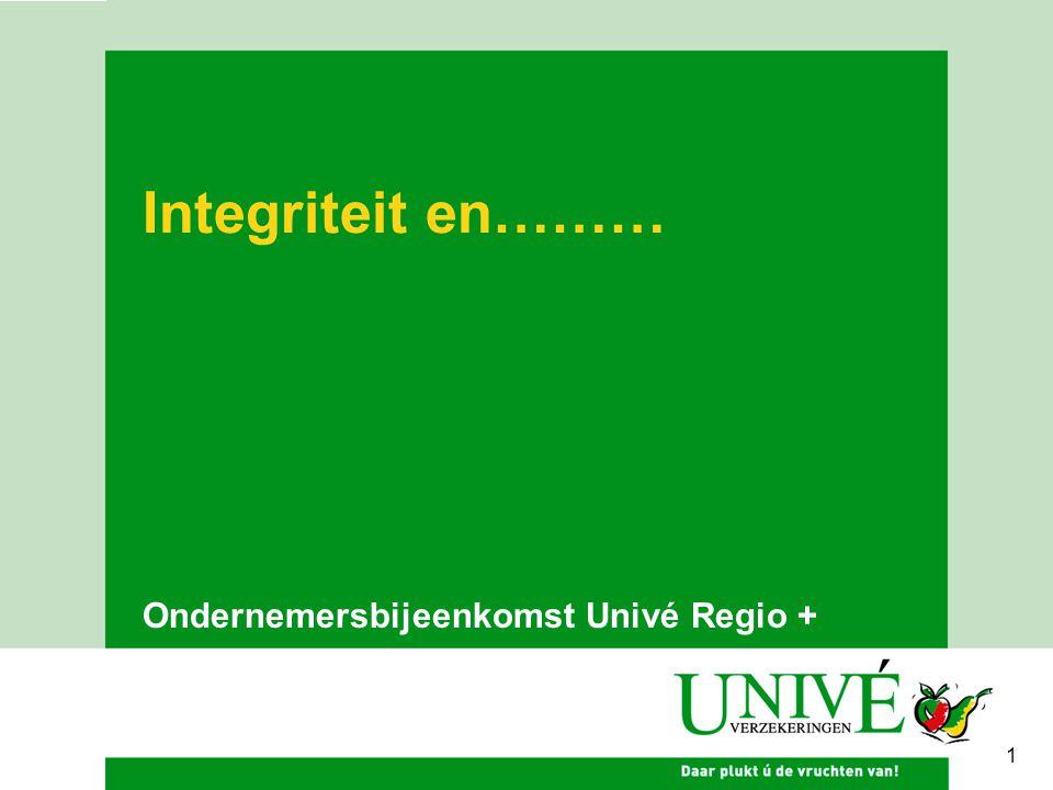 Integriteit en……… Ondernemersbijeenkomst Univé Regio + 1