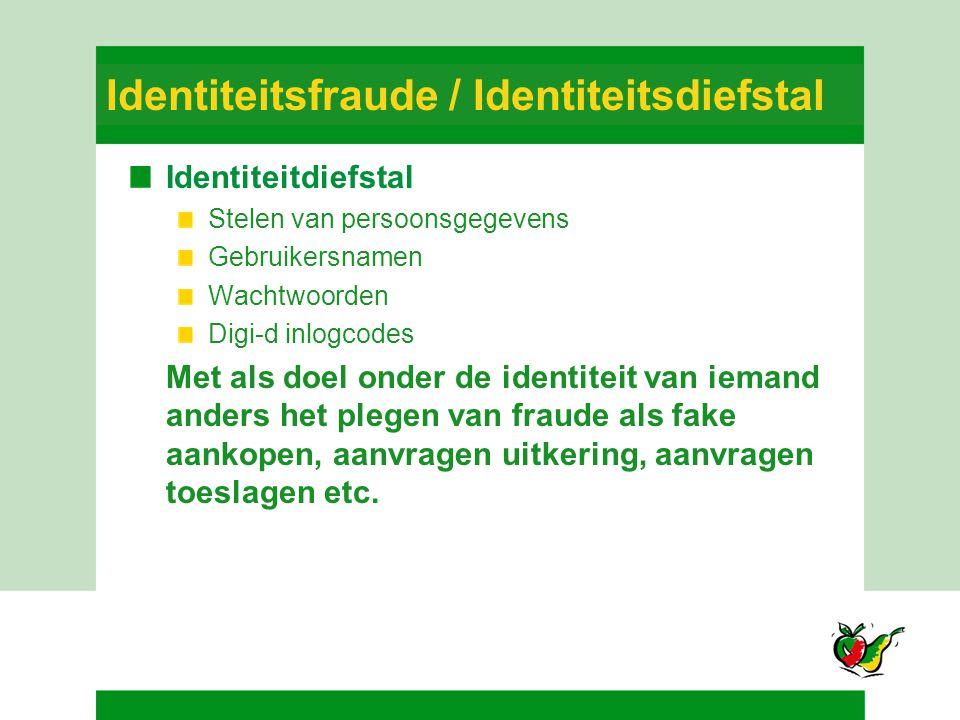 Identiteitsfraude / Identiteitsdiefstal Identiteitdiefstal Stelen van persoonsgegevens Gebruikersnamen Wachtwoorden Digi-d inlogcodes Met als doel ond